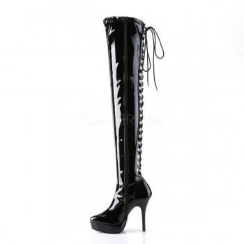 Devious Indulge 3063 IND3063/B Platform Patent Thigh High Boots #40
