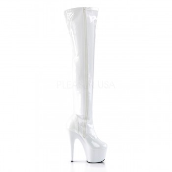 Pleaser ADO3000/W/M Thigh High Boots - White #39