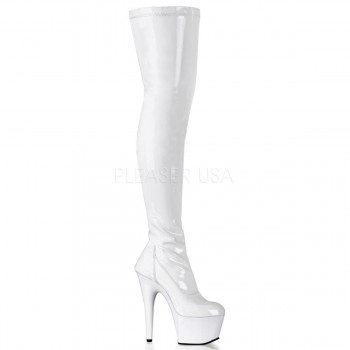 Pleaser Adore 3000 White Patent Thigh High Platform Boots with 7 Heel
