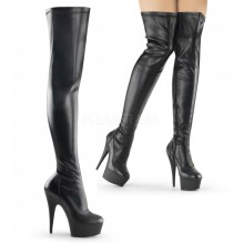 Pleaser DELIGHT-3000 Blk Str Faux Leather