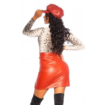 Koucla Leather Look Skirt with a sexy Slit 0000MR0931