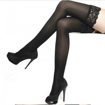 Чорапи - Sexy Women Ladies Lace Top Silicone Band Stay Up Thigh High Stockings Pantyhose