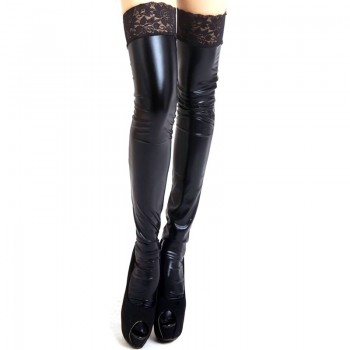 eXpress! - Sexy Women Lady Wet Look Faux Leather Thigh High Stockings Lace Stay-Up 3 Color Black