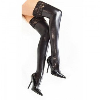 Women Lady Wet Look Faux Leather Thigh High Stockings Lace Stay-Up 3 Color Black